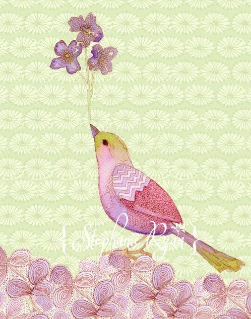 Pájaro grabado ilustración acuarela con flores por stephanieryanart