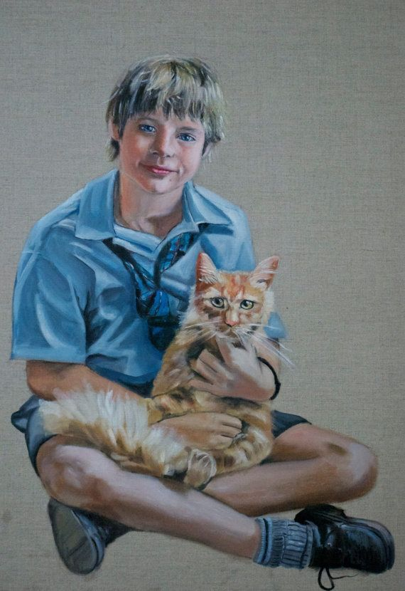 Custom Portrait from photo with raw linen background- Kids, Pets, Family - Beautifully painted portrait in oils - 100% guarantee