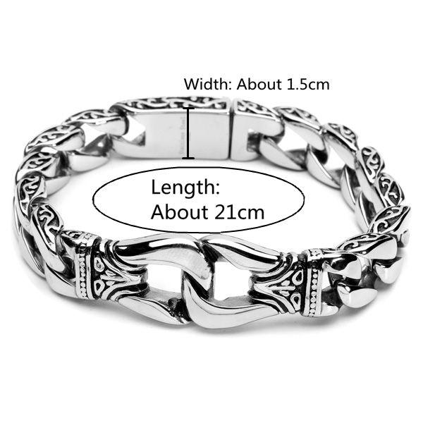 Designer Vintage Silver Tone 316L Stainless Steel Bracelet - NewChic