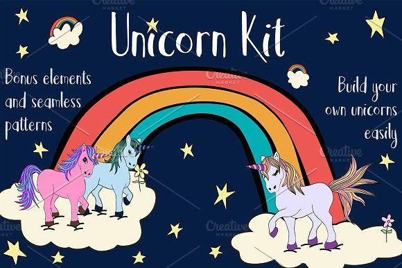 Unicorn Kit: Build your own unicorns by Webcodesigns on @creativemarket
