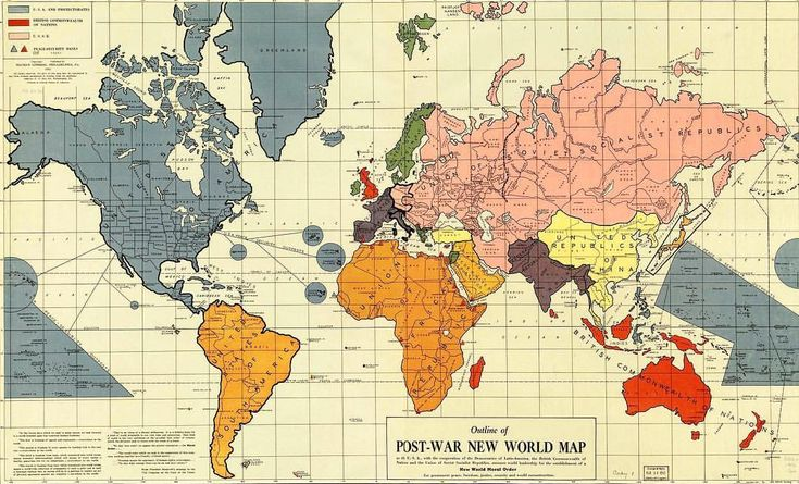 """Outline of the Post-War New World Map. Published 1942, Philadelphia, PA. ➖ """"The Outline of the Post-War New World Map was a map completed before the attack on Pearl Harbor and self-published on February 25, 1942 by Maurice Gomberg of Philadelphia, United States. It shows a proposed political division of the world after World War II in the event of an Allied victory in which the United States of America, the United Kingdom, and the Soviet Union as well as the Republic of China would rule. The…"""