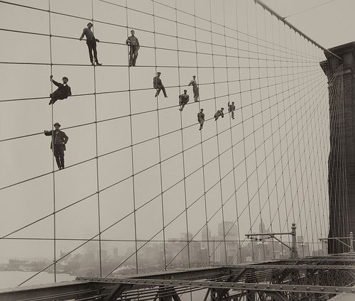 Painters on the Brooklyn Bridge Suspender Cables-October 7, 1914