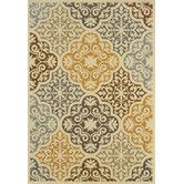 """Found it at Wayfair - Maui Floral Ivory & Grey Area Rug - $146.07 for 7""""10"""" round"""