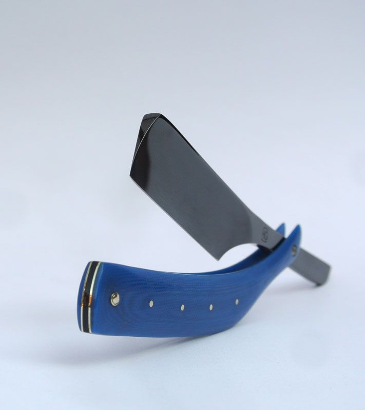 "13/16"" straight razor with blue scales"