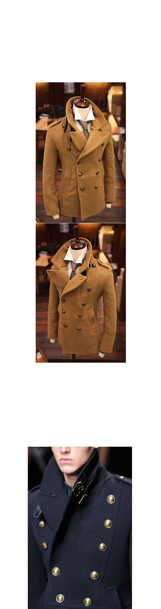 Outerwear :: Slim Fit Highneck Beige Peacoat-Coat 05 - Mens Fashion Clothing For An Attractive Guy Look