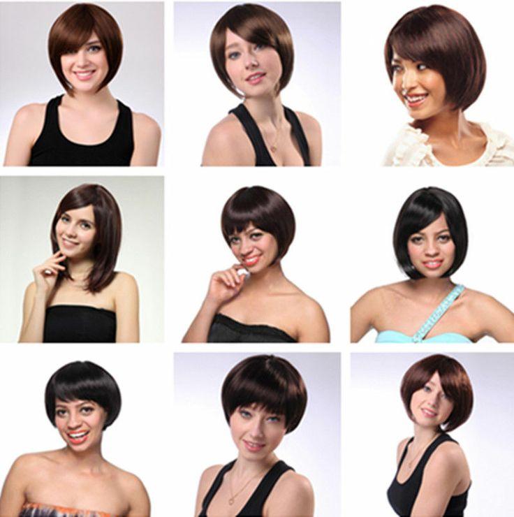 Stylish Women OL Short Silky Straight Full Head Cosplay Hair Wig Full/Side Bang