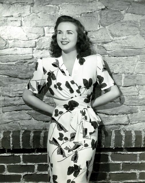 40s rayon floral print dress shoulder pads hip swag iconic Deanna Durbin!
