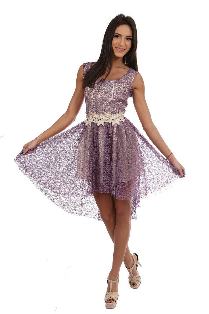 Rochie Violet - http://missgrey.ro/rochii/30-rochie-violet.html Rochie din dantela mov, asimetrica cu aplicatie din broderie nude cu margele si paiete in talie Material: Dantela Culoare: Mov