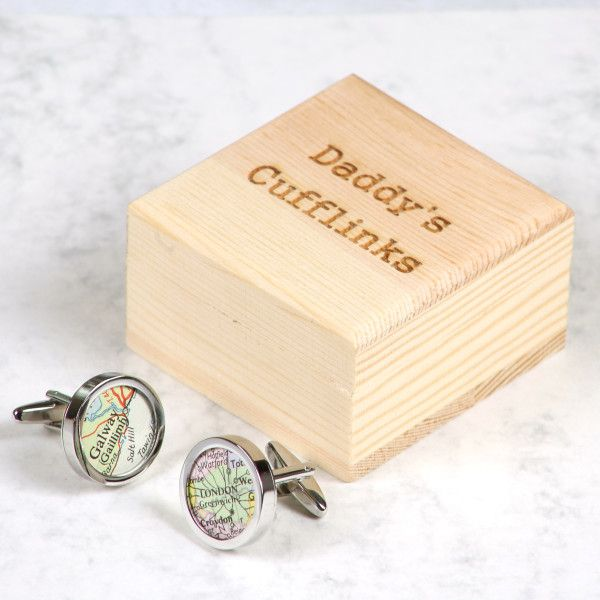 Personalised map location cufflinks and personalised box