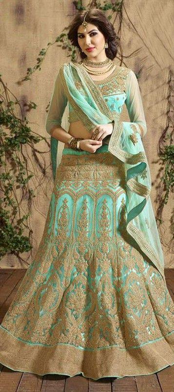 Elegant Blue Wedding Lehenga ~ 189940 Blue color family Bridal Lehenga in Net fabric with Border, Machine Embroidery, Thread, Zari work . #designerlehenga #Designer #Saree #Sari #Embroidery #DesignerWears #Occasion #IndianDresses #Partywears #Indian #Women #Bridalwear #Fashion #Fashionista #OnlineShopping #Lehenga #DesignerBlouse