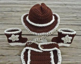 Del ganchillo bebé sombrero de vaquero botas traje foto Prop pañal Set cubierta 0-3, 3-6 meses ducha regalo recuerdo