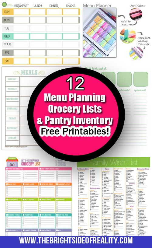 12 Menu Planning, Grocery Shopping Lists, and Pantry Inventory Free Printables