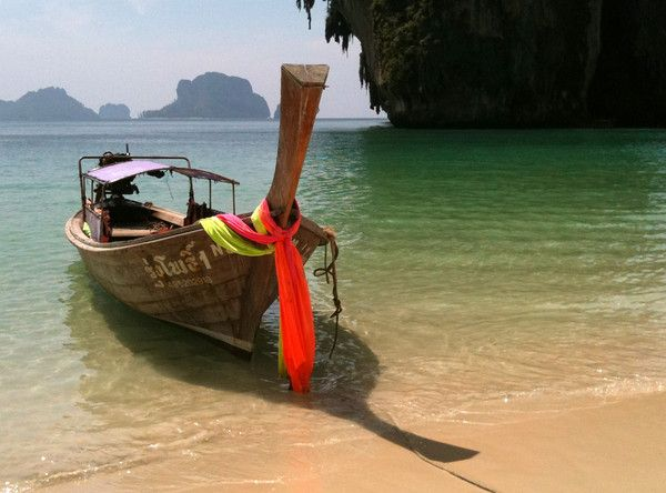 One of my favorite scenes from #Thailand -- a longtail boat on Railay.: Places To Visit, Favorite Beaches, Asia Adventure, Beautiful Places, Southeast Asia, Beautiful Photography, Beautiful Beaches, Se Asia, Longtail Boats