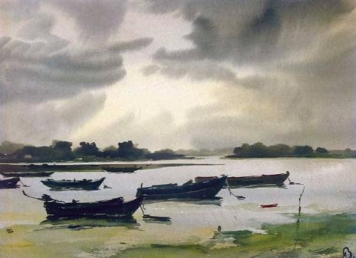 Aurél Bernáth (1895-1982) - Fishing boats on the