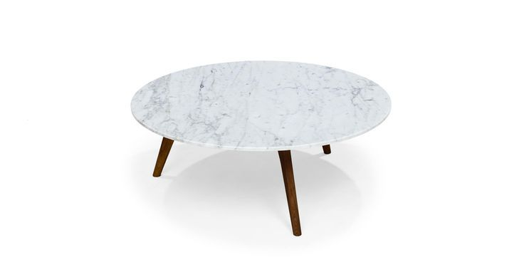 Round Marble Coffee Table In Solid Wood Walnut Article Coffee
