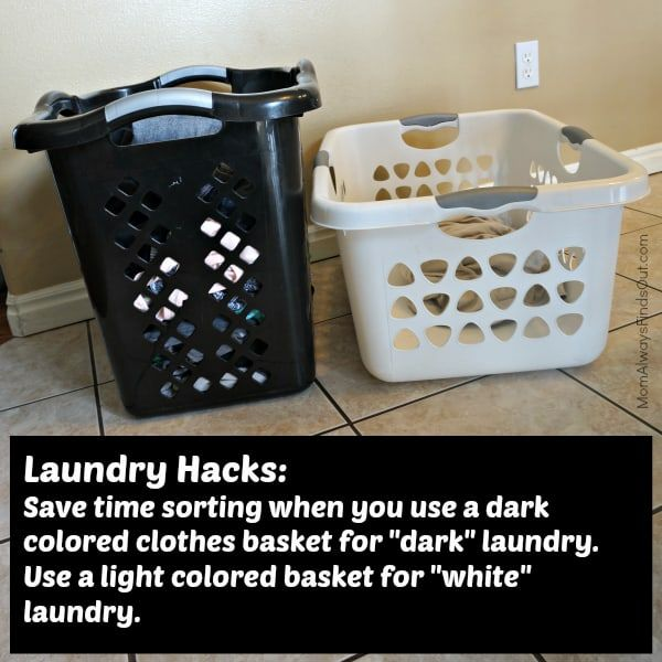 Colored clothing goes in the black bin and white items get dropping into the white bin. Sorting before you go to wash will cut your laundry time in half.