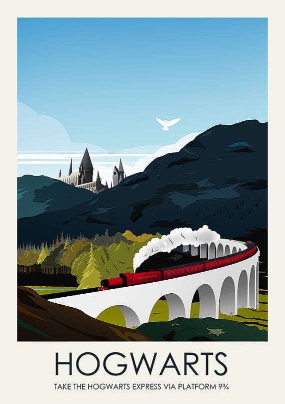 A bit of a twist on the classic travel posters, this piece is inspired by Harry Potter, Hogwarts and the Hogwarts Express. All pieces are
