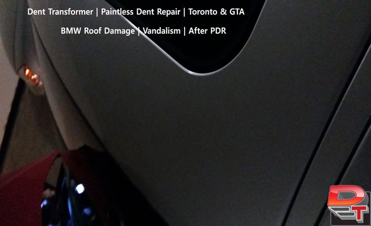 Dent Damage by Vandalism at Dent Transformer.  No fillers,  No sanding,  No Painting.  Same Day Service home or office.  Save the factory finish and choose Paintless Dent Repair over conventional repa