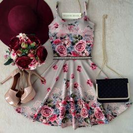 Vestido  Alice  Alcinha Rodado  No neoprene C/ BOJO( Flores Dreaw)