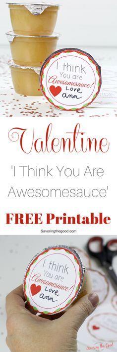 This is a super simple classroom Valentine. Free Printable Applesauce Valentine …