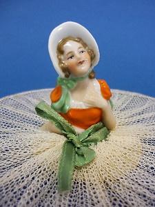 Vintage Porcelain Half Doll Milk Jug Cover Antique German