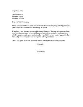 This formal resignation letter is official, polite, positive, and includes a two-week notice. Free to download and print