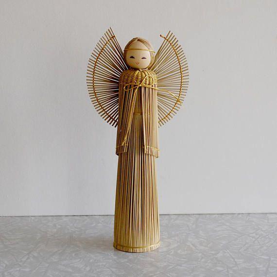 wood & straw kokeshi angel midcentury holiday decor made in