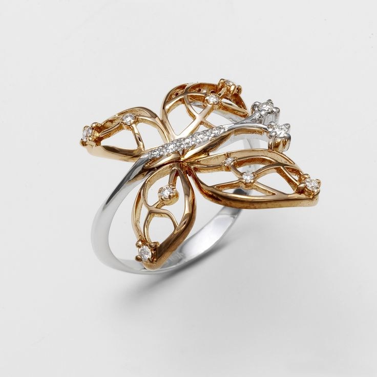 butterfly ring gold 18 kt