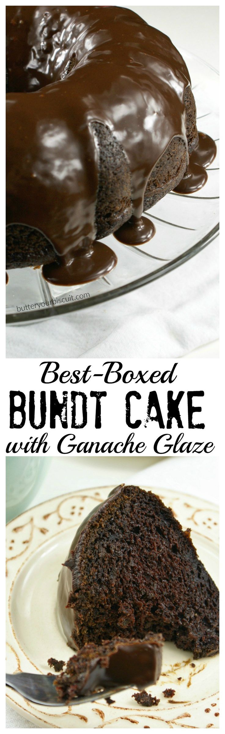 This recipe for The Best Boxed Bundt Cake with Ganache Glaze is rich and moist. The Ganache is silky and smooth and absolutely delicious!