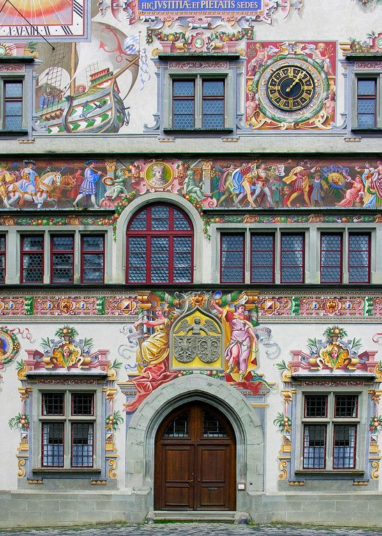 Old Town Hall, Lindau,Germany, built 1422-36. Astrogeographic position: the midpoint is located right on the divide between conservative, hierachical, solid earth sign Capricorn sign of the earth, town halls, administration, government insitutions and creative, innovative air sign Aquarius sign of the sky, heaven, paradise. 2nd coordinate in fire sign Sagittarius sign of style, design, fashion, ornamentation, time-measurement. Field level 4.