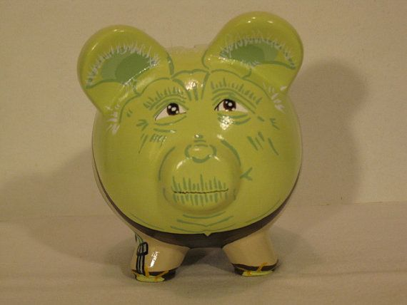 Personalized Handpainted Yoda Piggy Bank  MADE TO by PigPatrol