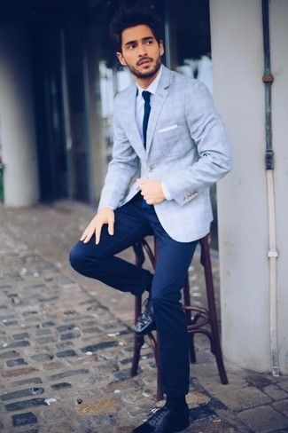 Men's Light Blue Plaid Blazer, White Dress Shirt, Navy Chinos, Black Leather Brogues
