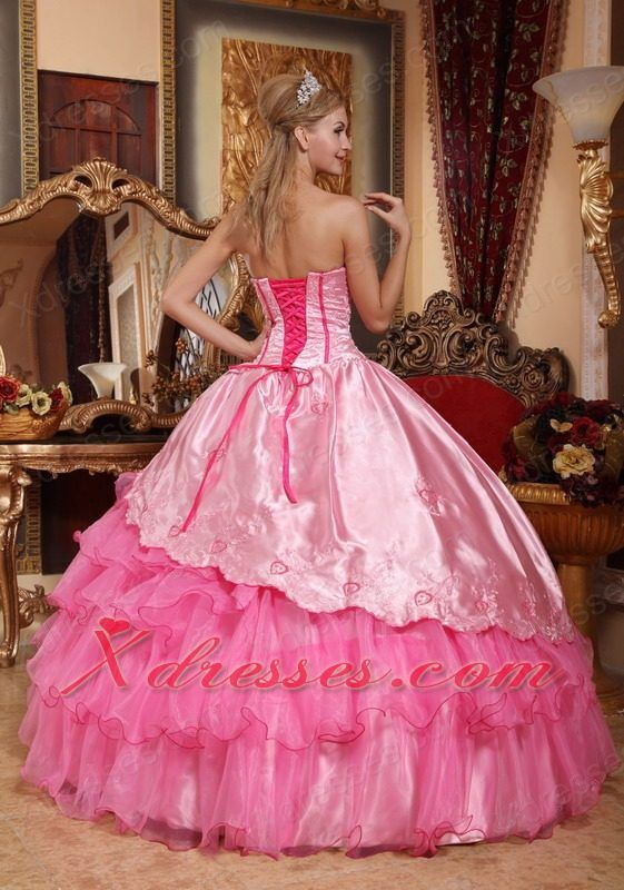 Rose Pink Ball Gown Sweetheart Floor-length Taffeta and Oragnza Embroidery Quinceanera Dress