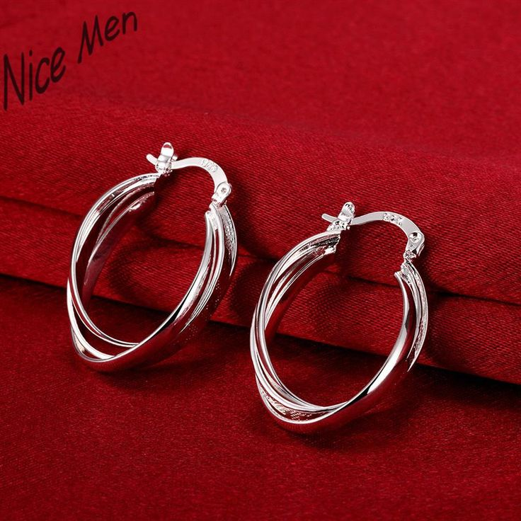 two pieces circles clip earring solid silver E672 2015 New supplies earrings fashion high quality