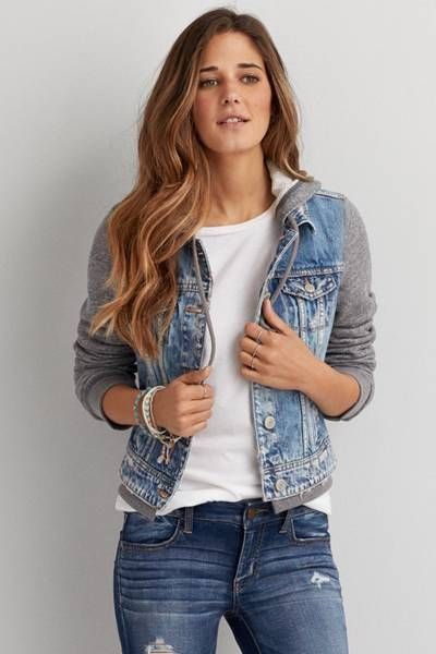 AEO Hooded Denim Jacket  by AEO | The perfect layer over your favorite dresses and tanks.  Shop the AEO Hooded Denim Jacket  and check out more at AE.com.