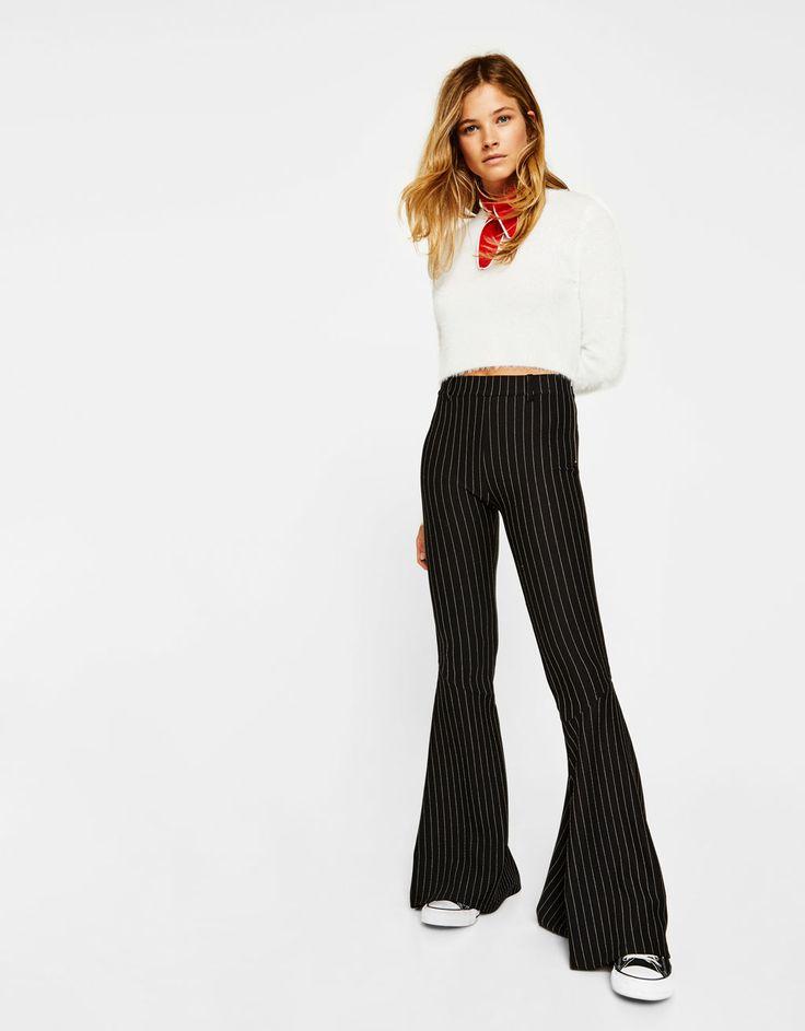 Bershka United Kingdom - Slim flared trousers with maxi ruffles