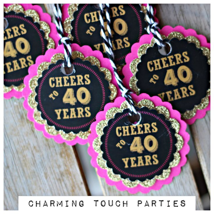 "40th Birthday favor tags.  Ladies Hot Pink/ black /gold ""Cheers to 40 Years"" decorations.  Set of 18, fully assembled and customizable. by CharmingTouchParties on Etsy"