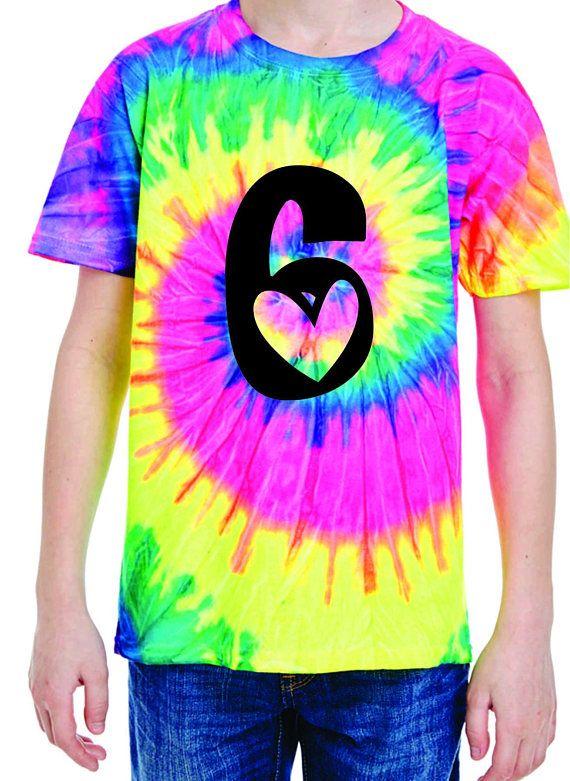 Tie Dye Shirt Kids 6th Birthday Number Neon