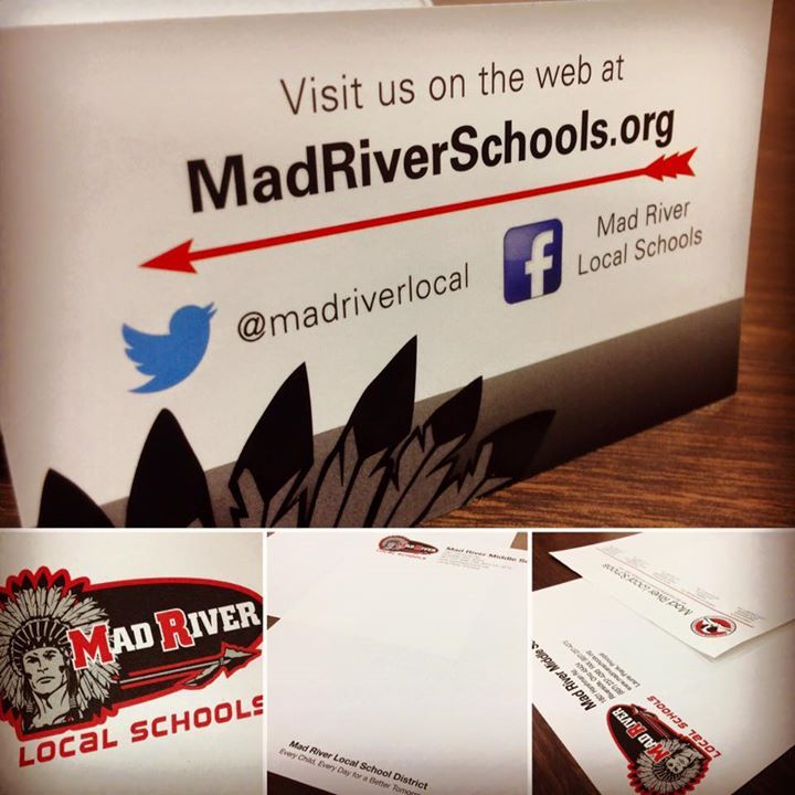 We're having a Mad River Monday! The school district changed their logo this year and we've been busy re-designing not only letterhead but business cards and much more! Not changing your district's logo but want a fresh look? Call one of our designers today! #schoollogo #madriver #logodesign #socialmediamarketing #freshlook