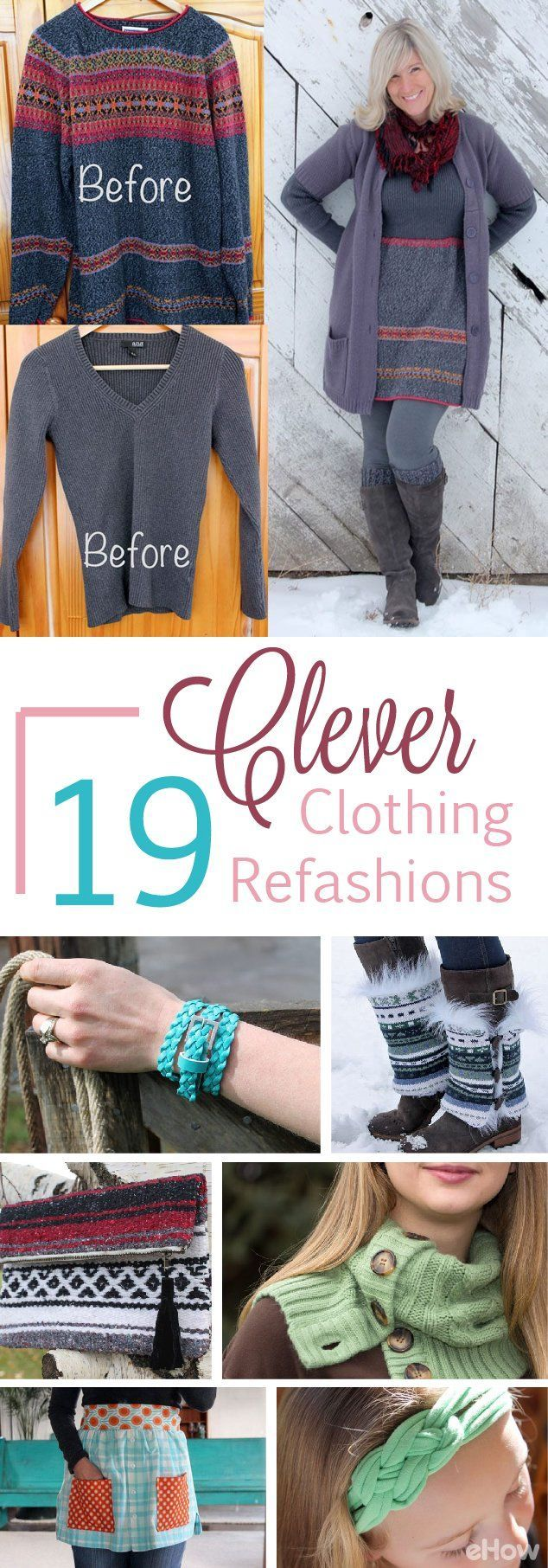 Refashioning old clothes into new, beautiful pieces makes shopping at the thrift store (or even in your own closet) feel like a gold mine! Update your wardrobe without spending a lot of money with these clever refashion, upcycle ideas: http://www.ehow.com/how_12342973_clever-ways-refashion-clothes.html?utm_source=pinterest.com&utm_medium=referral&utm_content=freestyle&utm_campaign=fanpage