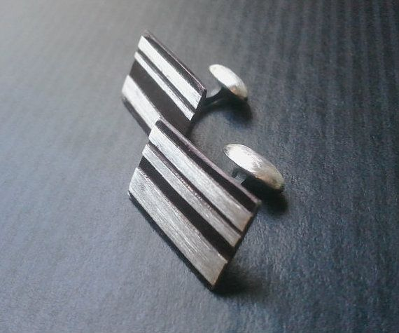 cufflinks  Sterling Silver Contrast  Great by purelypaige on Etsy, $45.00