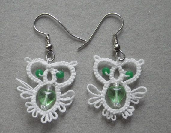 Owl tatted earrings with glass bead body tatting by TattingByWendy, $11.00