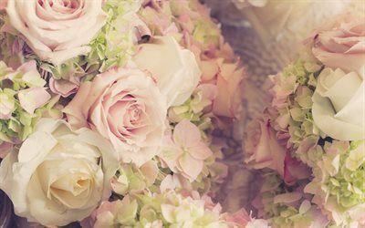 Scarica sfondi un mazzo di rose, bouquet di nozze, bouquet gratuito, rose, beige rose, rose rosa