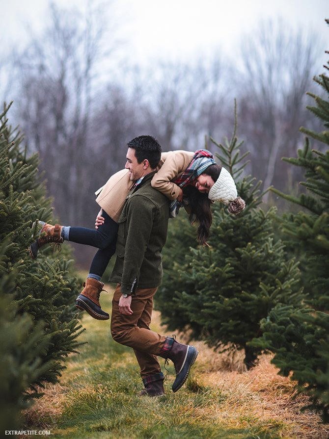 New England winter outfits // shopping at a christmas tree farm