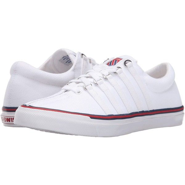 K-Swiss Surf 'N Turf OG 50th (50th/White/Classic Blue/Ribbon Red... ($70) ❤ liked on Polyvore featuring shoes, red blue shoes, red canvas shoes, blue ribbon shoes, canvas shoes and k swiss shoes