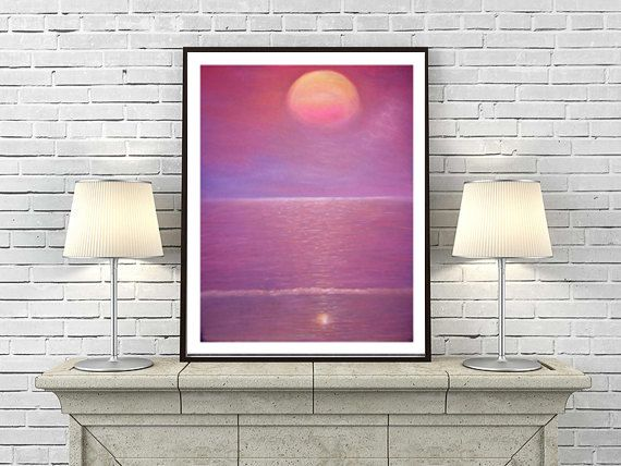 Rosa púrpura pintura, paisaje puesta de sol, de la pared decoración arte grabado, arte realista. Alta calidad de impresión