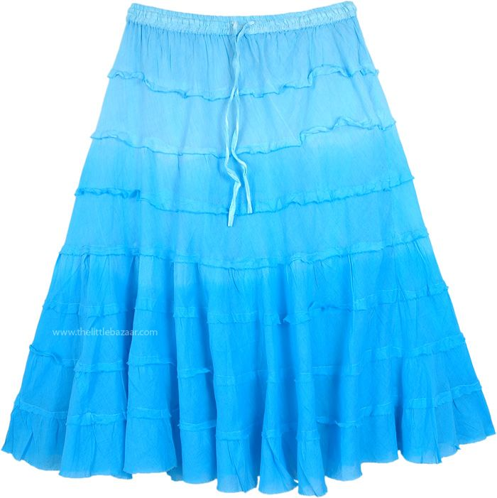 Turquoise Ombre Knee Length Summer Skirt With Tiers Summer Skirts Tiered Cotton Skirt Trendy Skirts