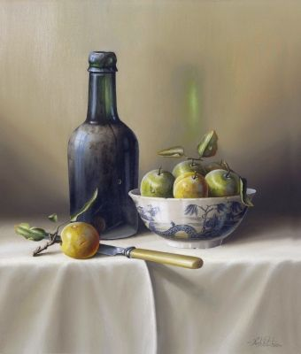Beer Bottle & Greengages (11X13 framed, Oil on Board) Sold by Rob Ritchie