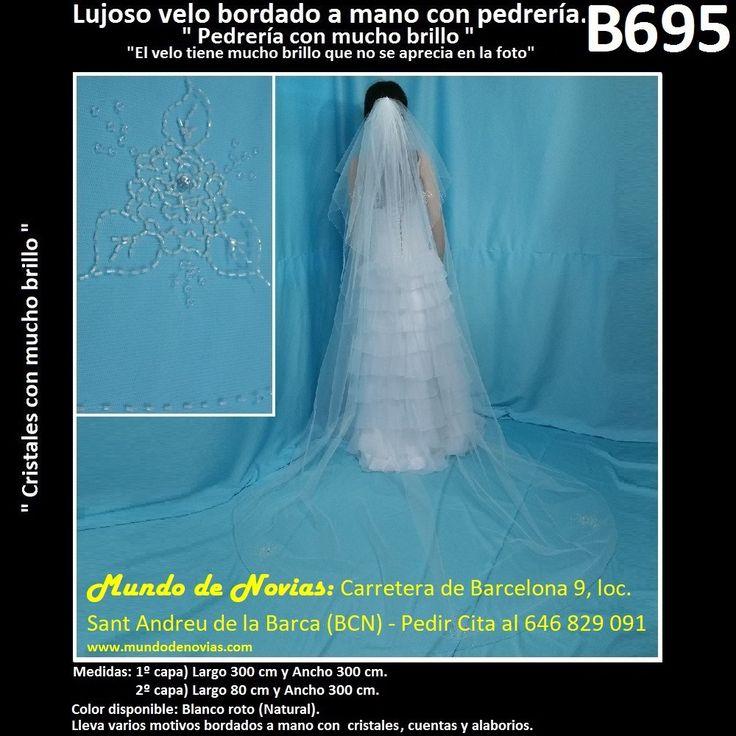 Elegante Velo de Novia de una elegante pedrería, de la marca Novias Ukraine. Se hacen envíos a toda España y también se pude pedir CITA para venir a probarlo en tienda (WhatsApp 646829091).