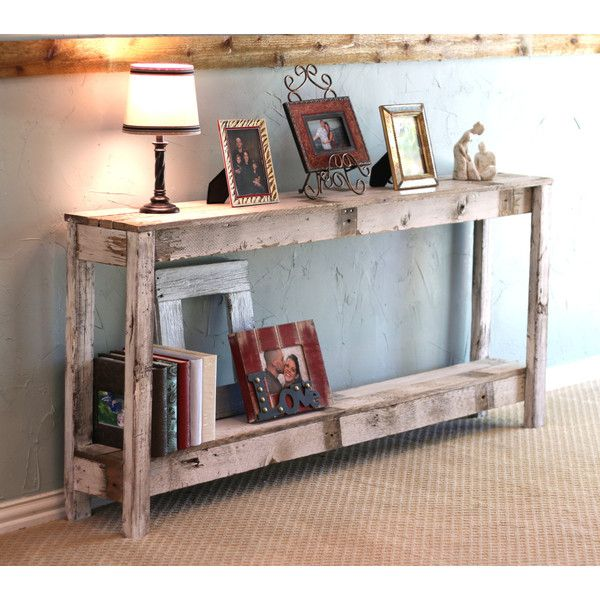 Rustic Sofa Table in Farmhouse White ($187) ❤ liked on Polyvore featuring home, furniture, tables, accent tables, home & living, white, white couch table, hand made furniture, white furniture and white accent table